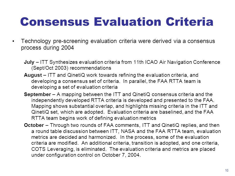 Consensus Evaluation Criteria