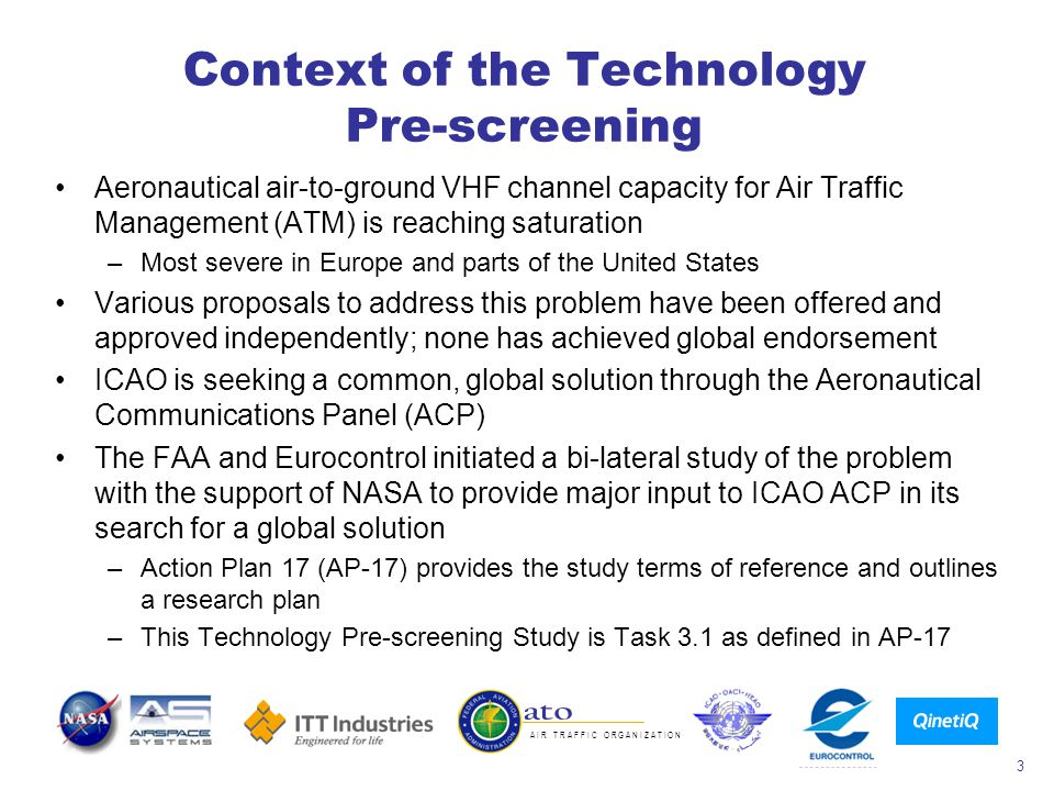 Context of the Technology Pre-screening