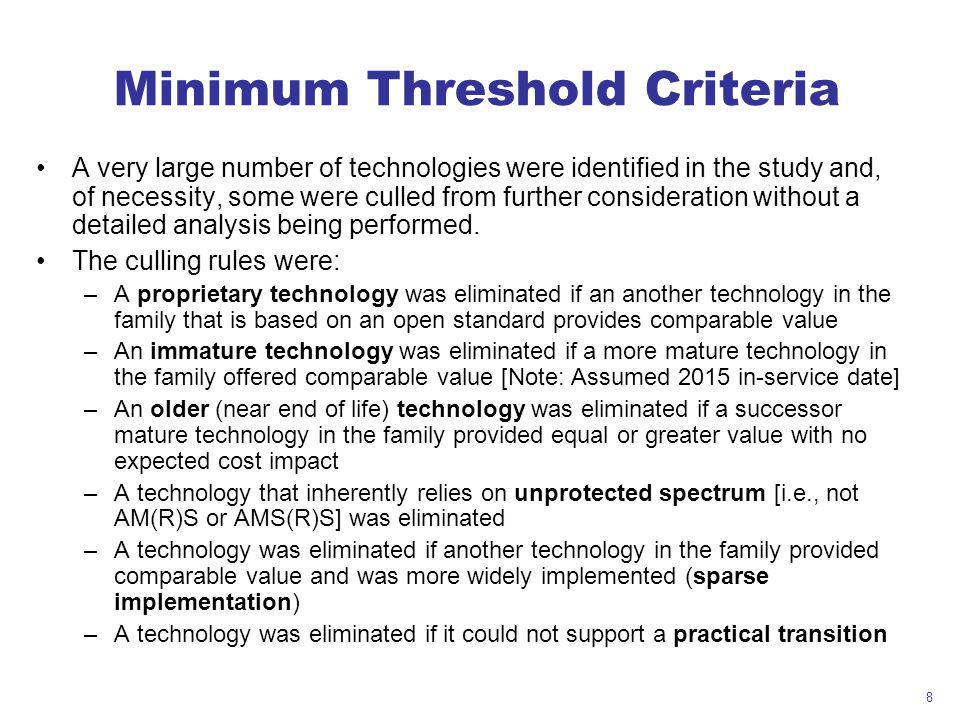 Minimum Threshold Criteria