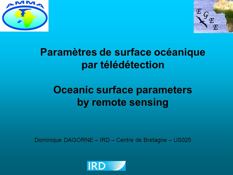 Paramètres de surface océanique Oceanic surface parameters