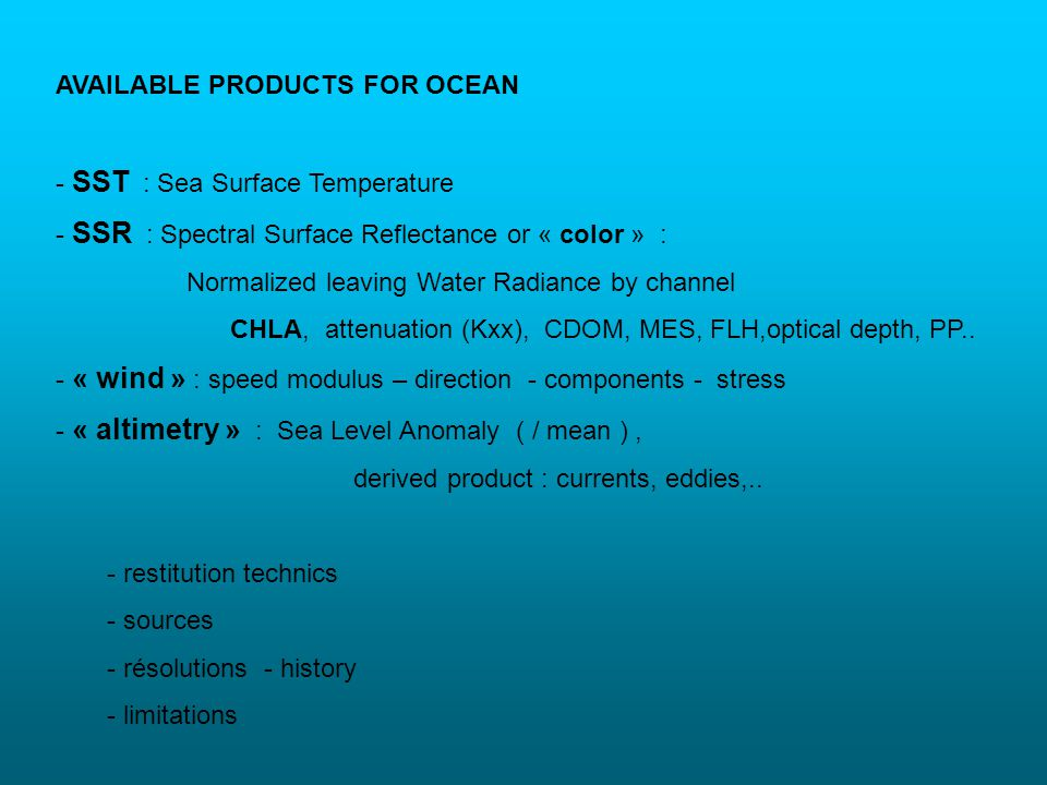 AVAILABLE PRODUCTS FOR OCEAN
