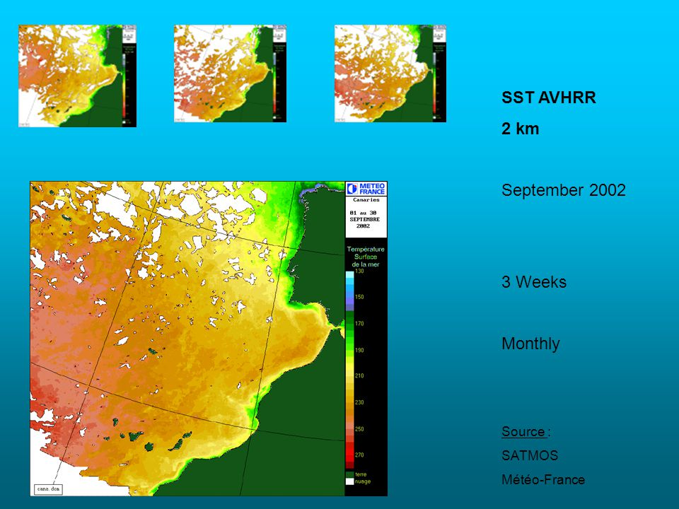 SST AVHRR 2 km September 2002 3 Weeks Monthly Source : SATMOS
