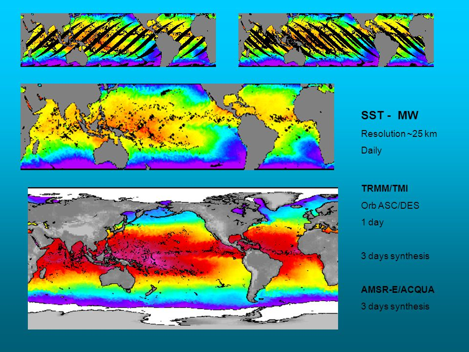 SST - MW Resolution ~25 km Daily TRMM/TMI Orb ASC/DES 1 day