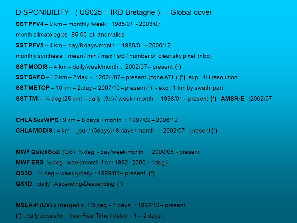 DISPONIBILITY ( US025 – IRD Bretagne ) – Global cover