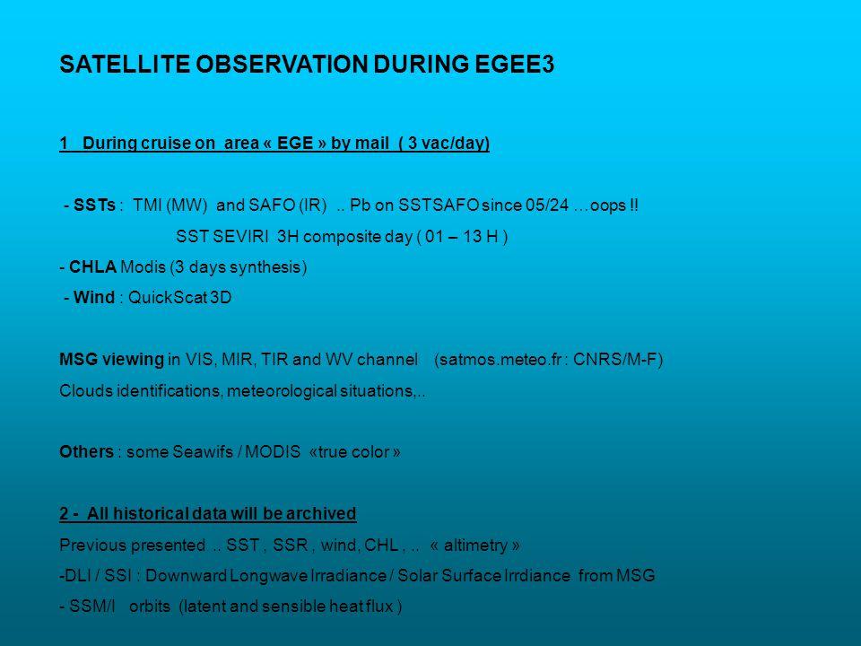 SATELLITE OBSERVATION DURING EGEE3