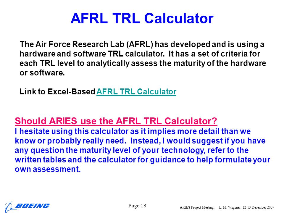 AFRL TRL Calculator Should ARIES use the AFRL TRL Calculator