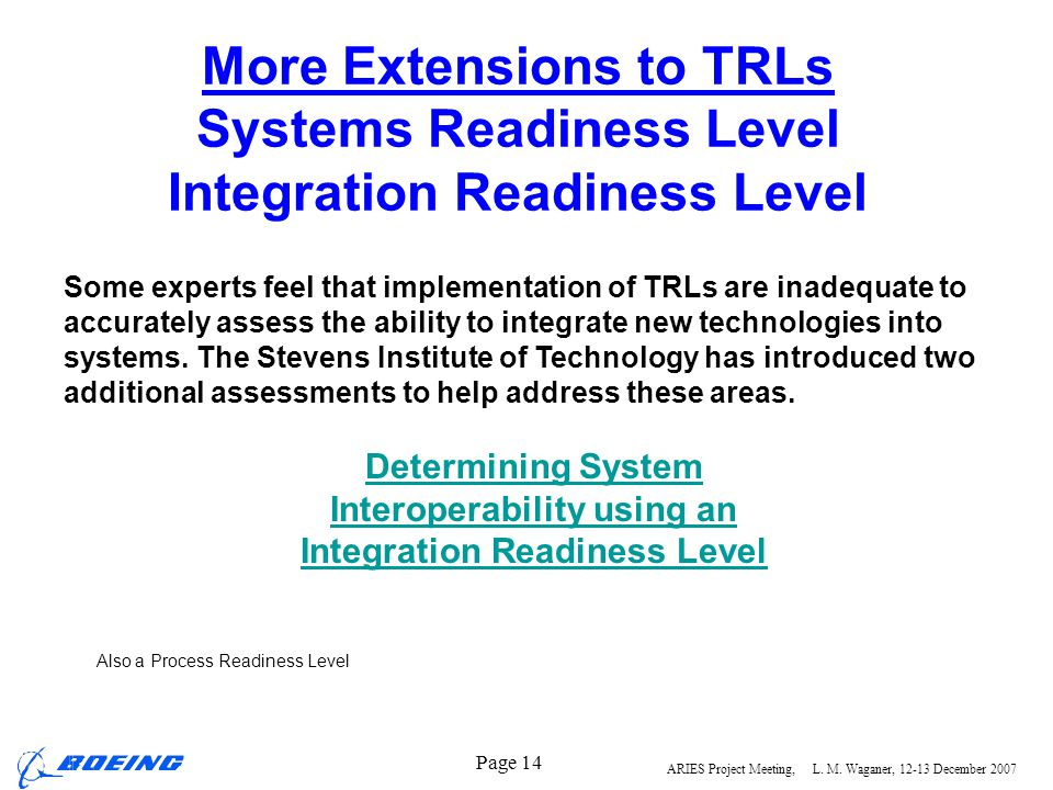 Interoperability using an Integration Readiness Level