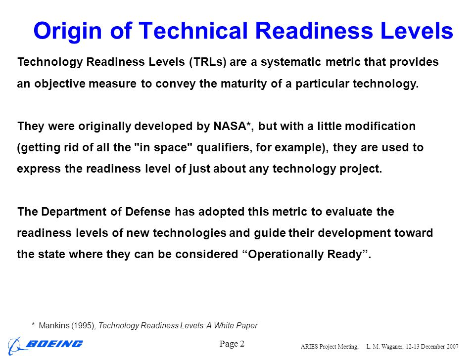 Origin of Technical Readiness Levels