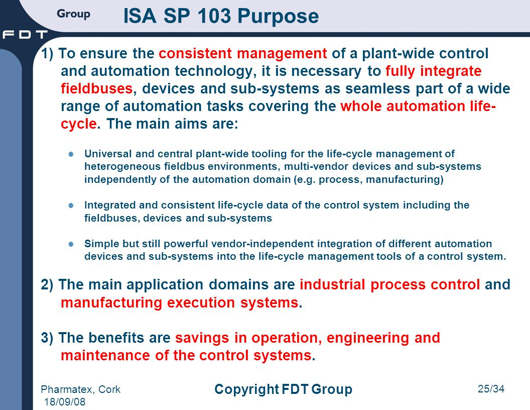 ISA SP 103 Purpose