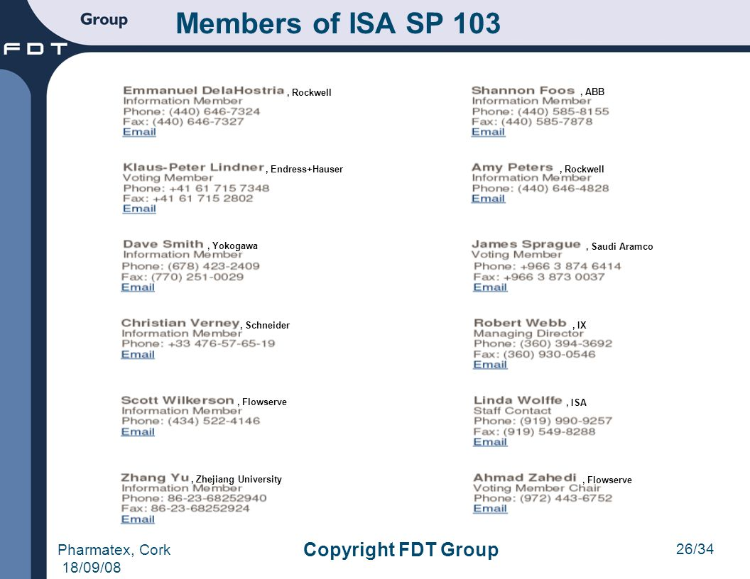 Members of ISA SP 103 Copyright FDT Group Pharmatex, Cork 18/09/08