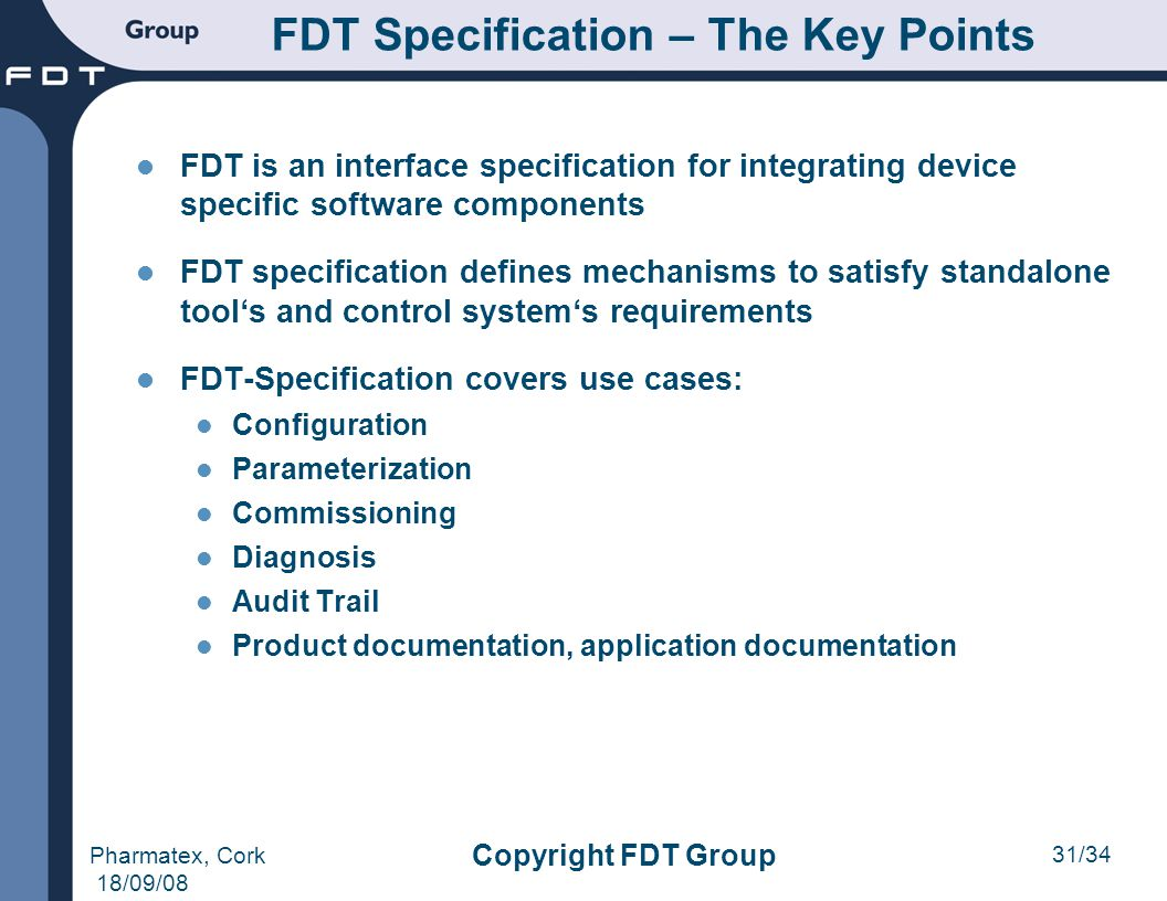 FDT Specification – The Key Points