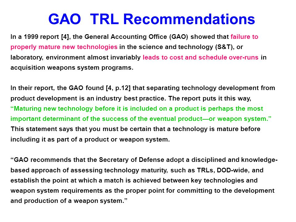 GAO TRL Recommendations