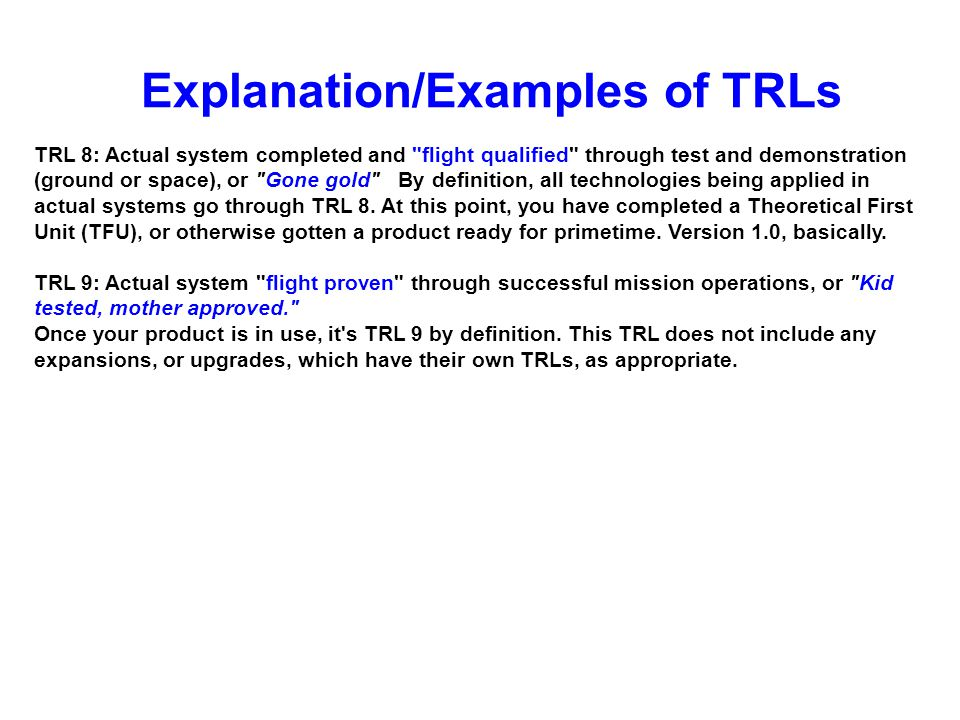 Explanation/Examples of TRLs