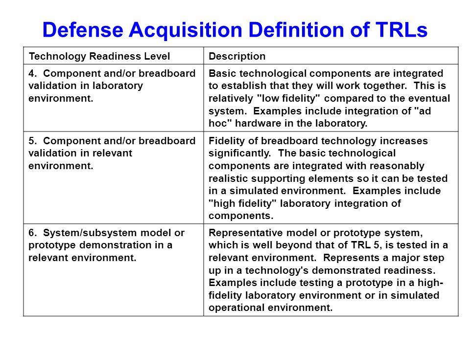 Defense Acquisition Definition of TRLs