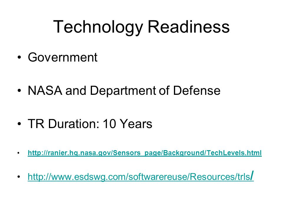 Technology Readiness Government NASA and Department of Defense