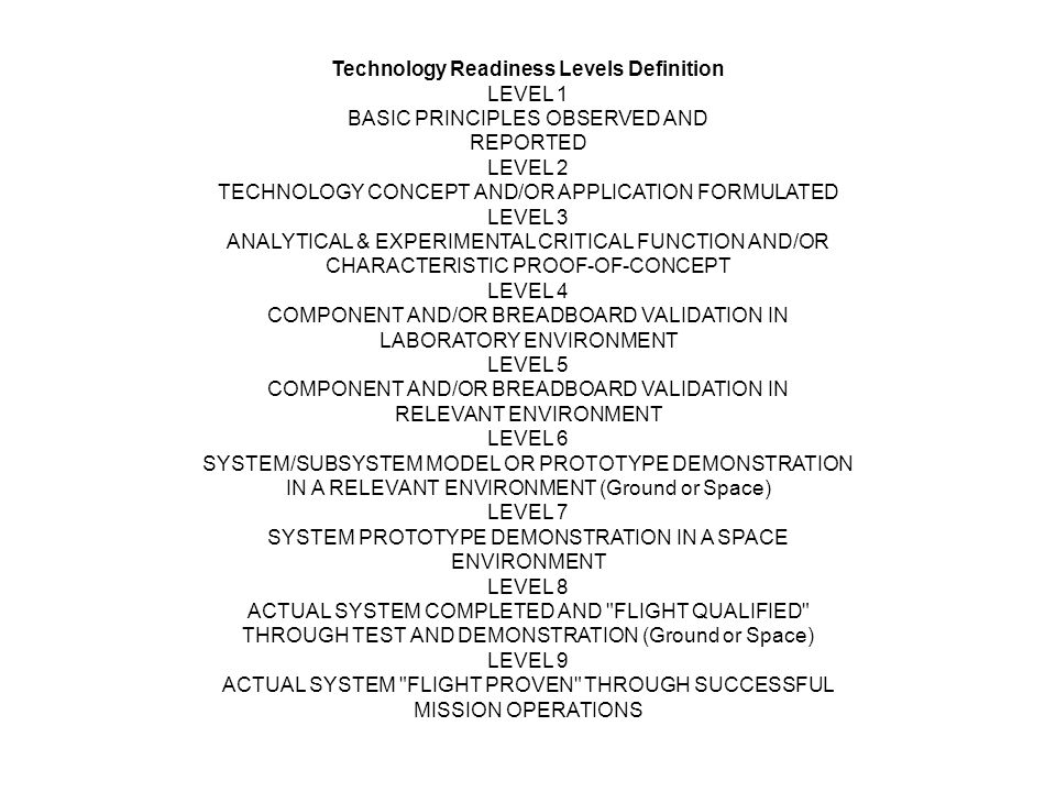 Technology Readiness Levels Definition