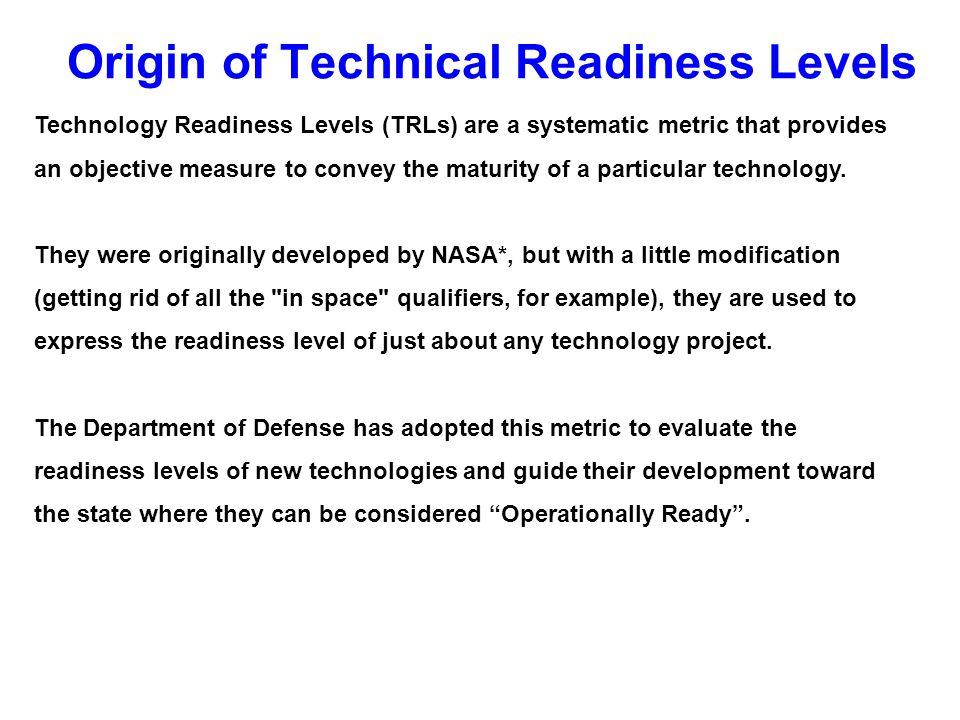 Origin of Technical Readiness Levels
