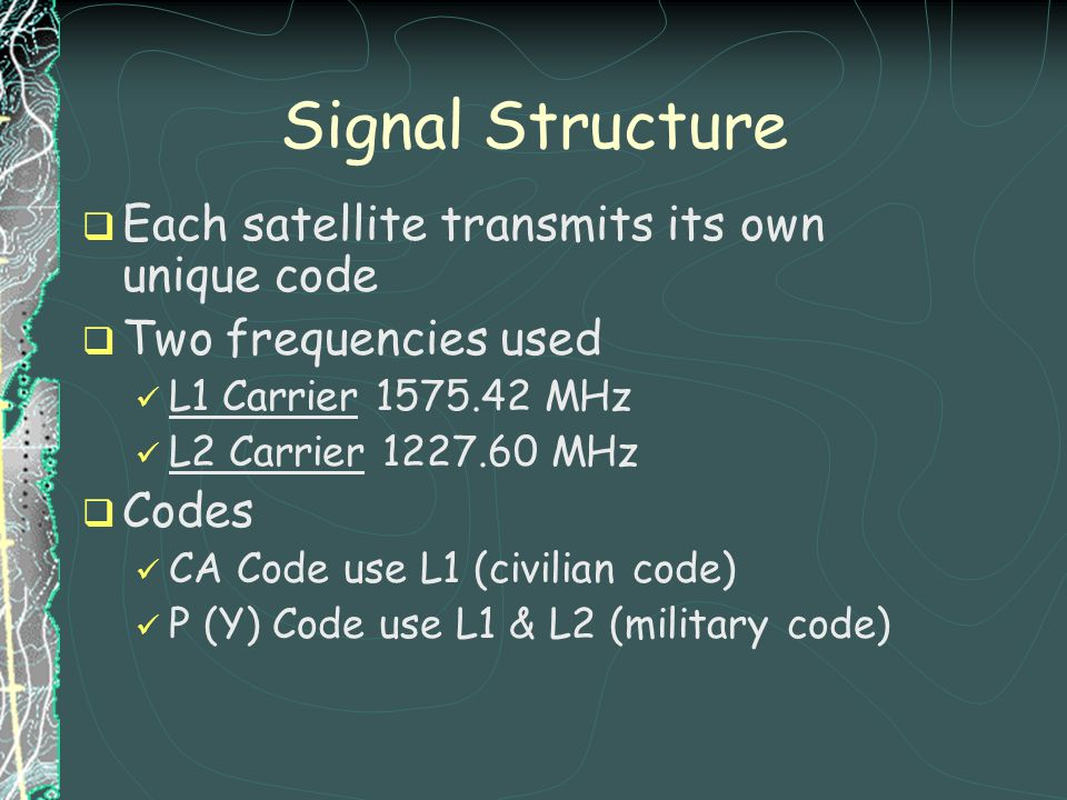 Signal Structure Each satellite transmits its own unique code