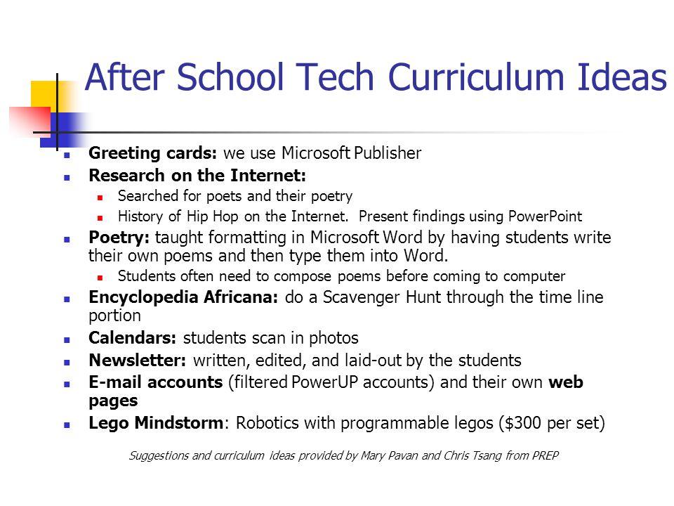 After School Tech Curriculum Ideas