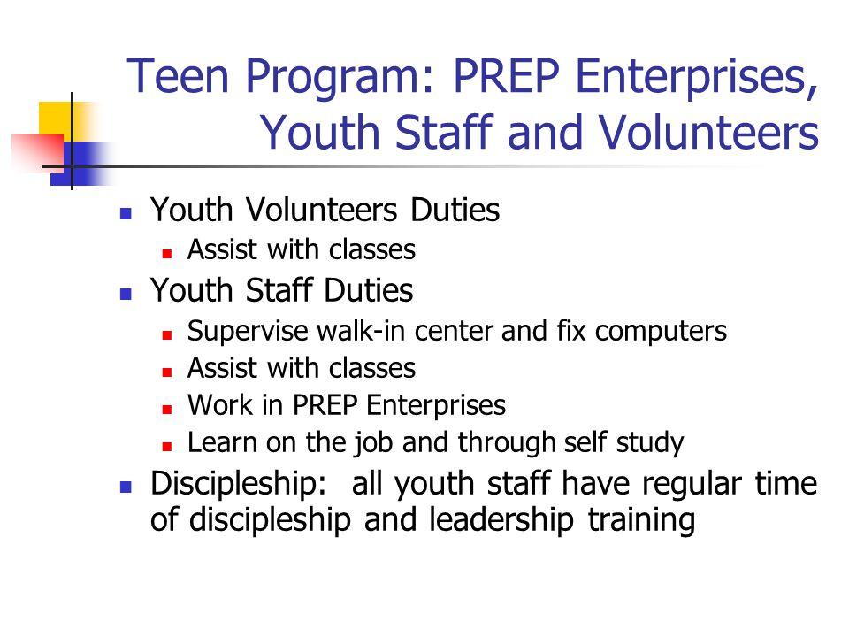 Teen Program: PREP Enterprises, Youth Staff and Volunteers
