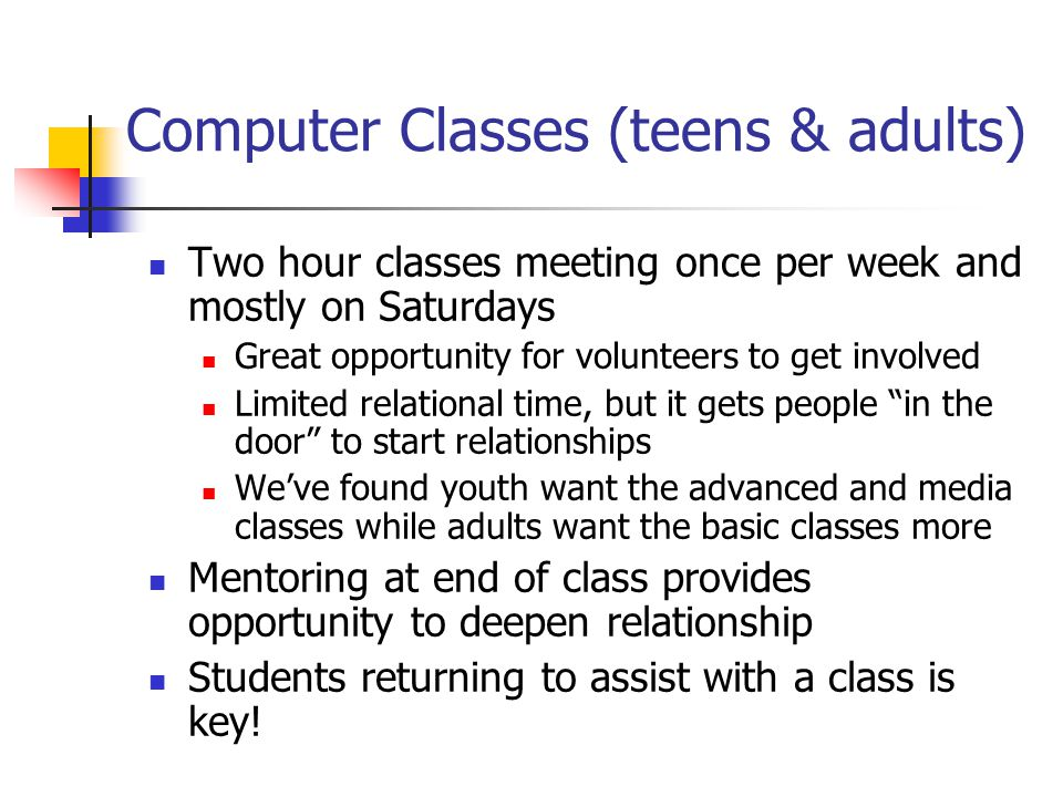 Computer Classes (teens & adults)