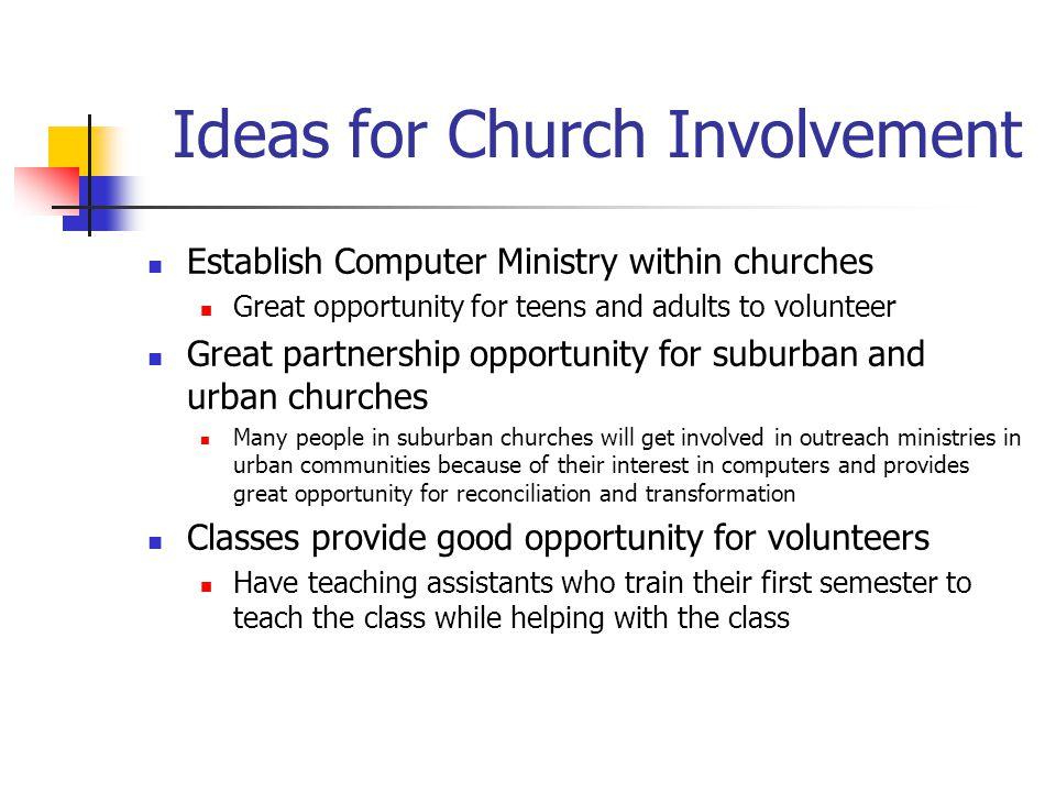 Ideas for Church Involvement