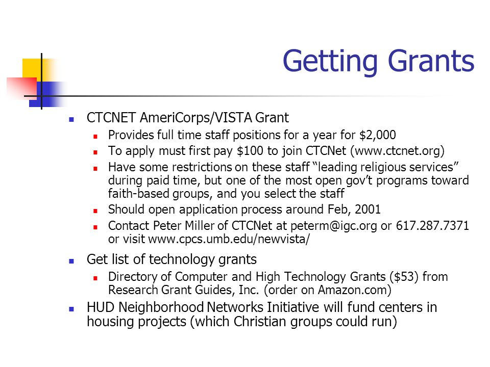 Getting Grants CTCNET AmeriCorps/VISTA Grant