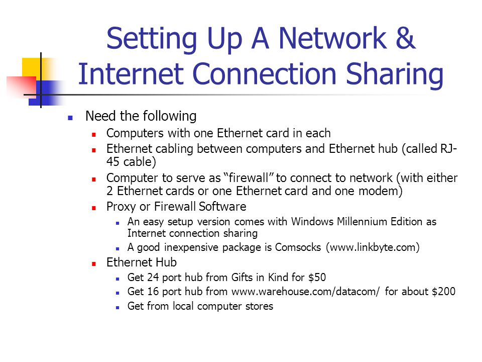 Setting Up A Network & Internet Connection Sharing