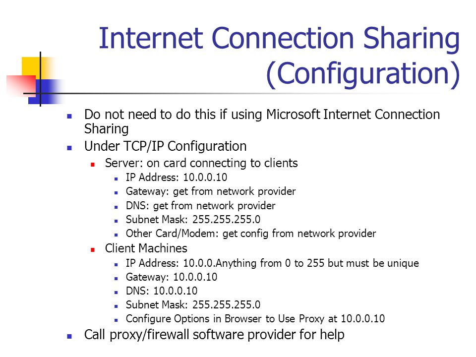 Internet Connection Sharing (Configuration)