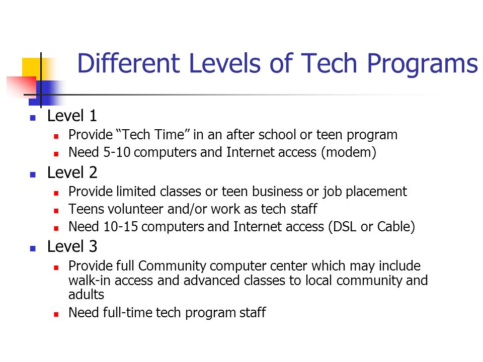 Different Levels of Tech Programs