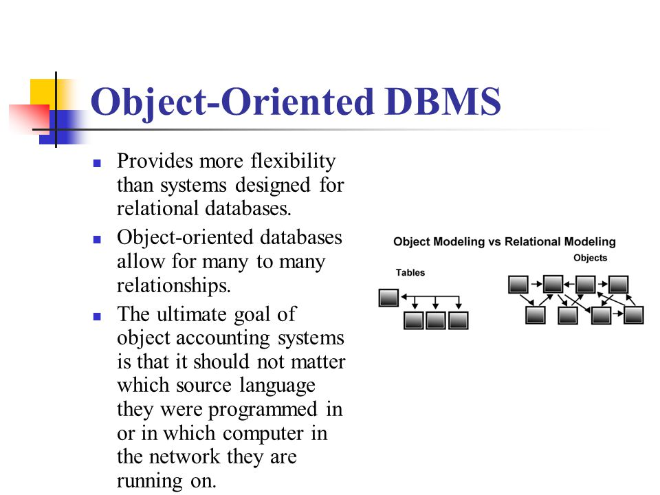 Object-Oriented DBMS Provides more flexibility than systems designed for relational databases.