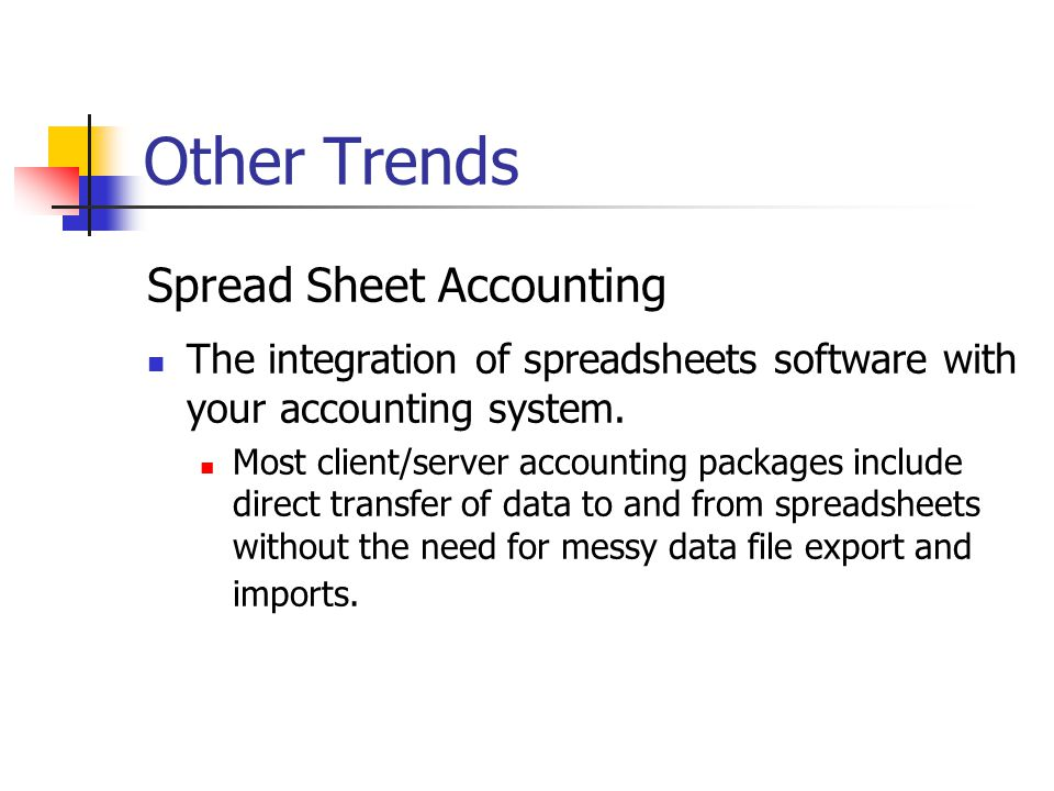 Other Trends Spread Sheet Accounting