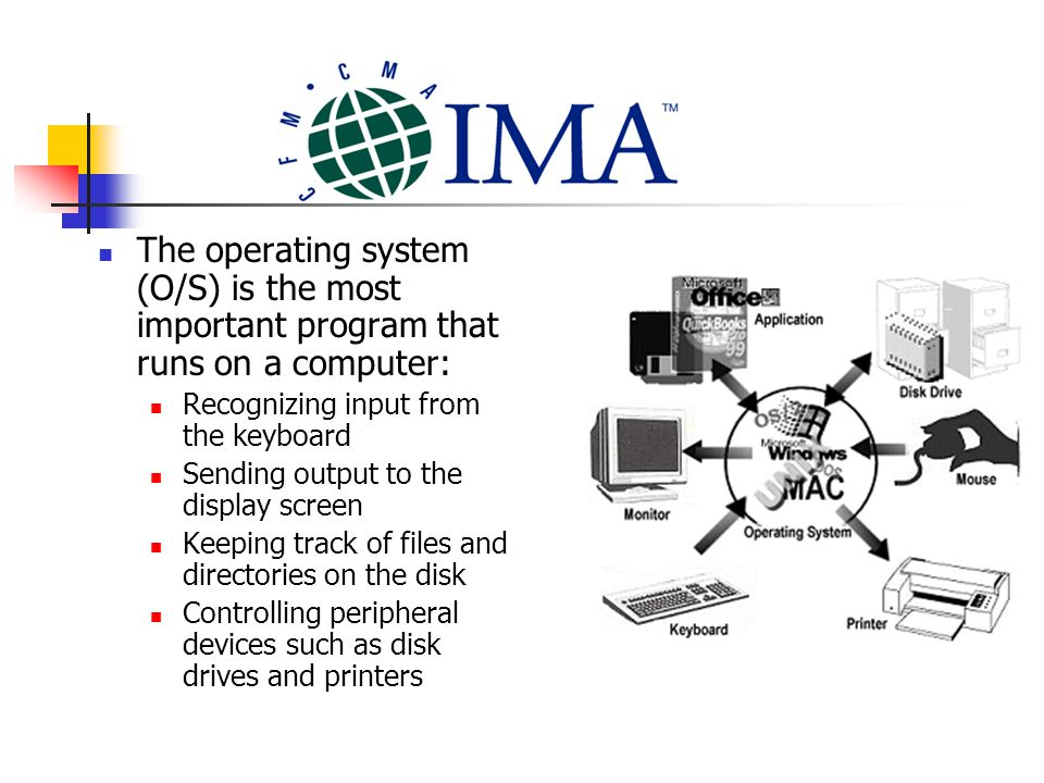 The operating system (O/S) is the most important program that runs on a computer: