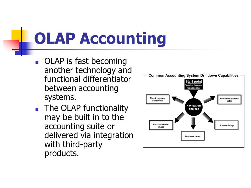 OLAP Accounting OLAP is fast becoming another technology and functional differentiator between accounting systems.