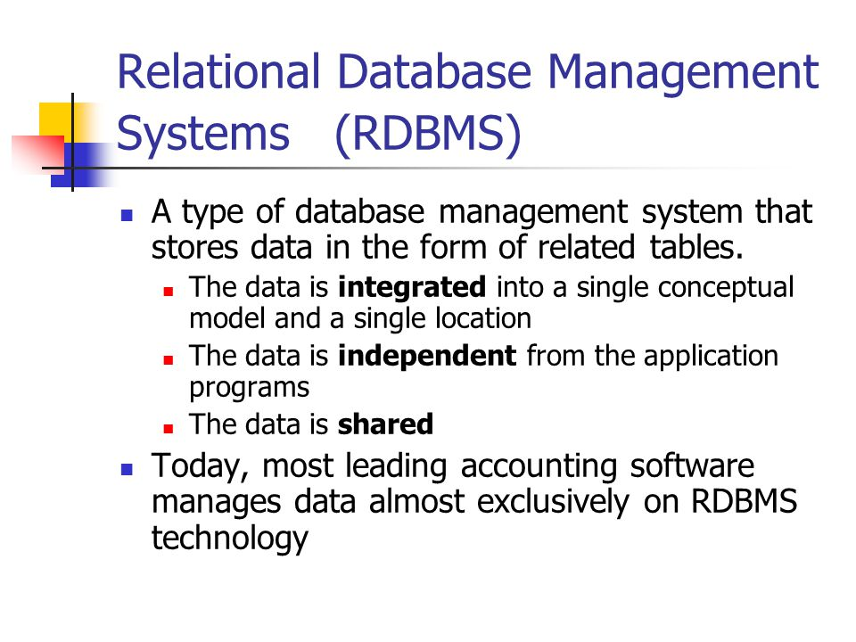 Relational Database Management Systems (RDBMS)