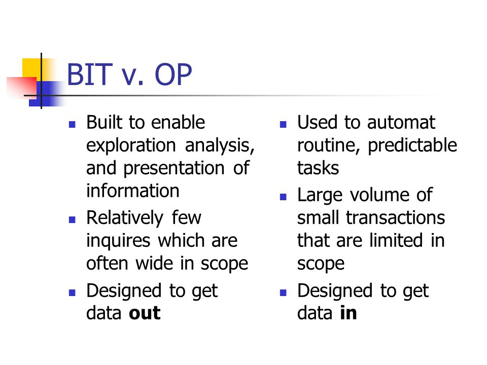 BIT v. OP Built to enable exploration analysis, and presentation of information. Relatively few inquires which are often wide in scope.