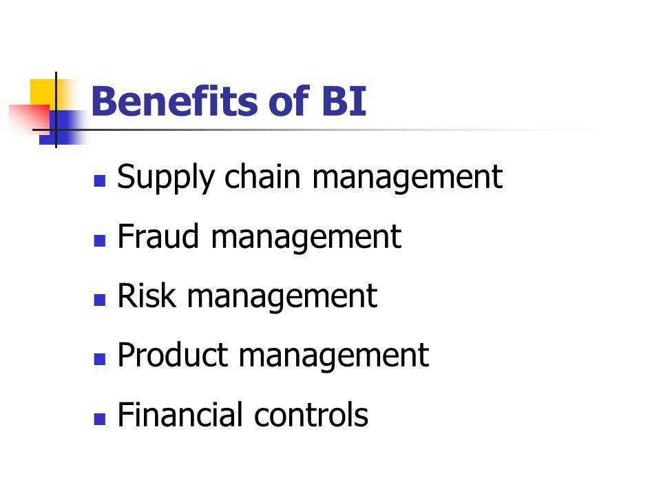 Benefits of BI Supply chain management Fraud management