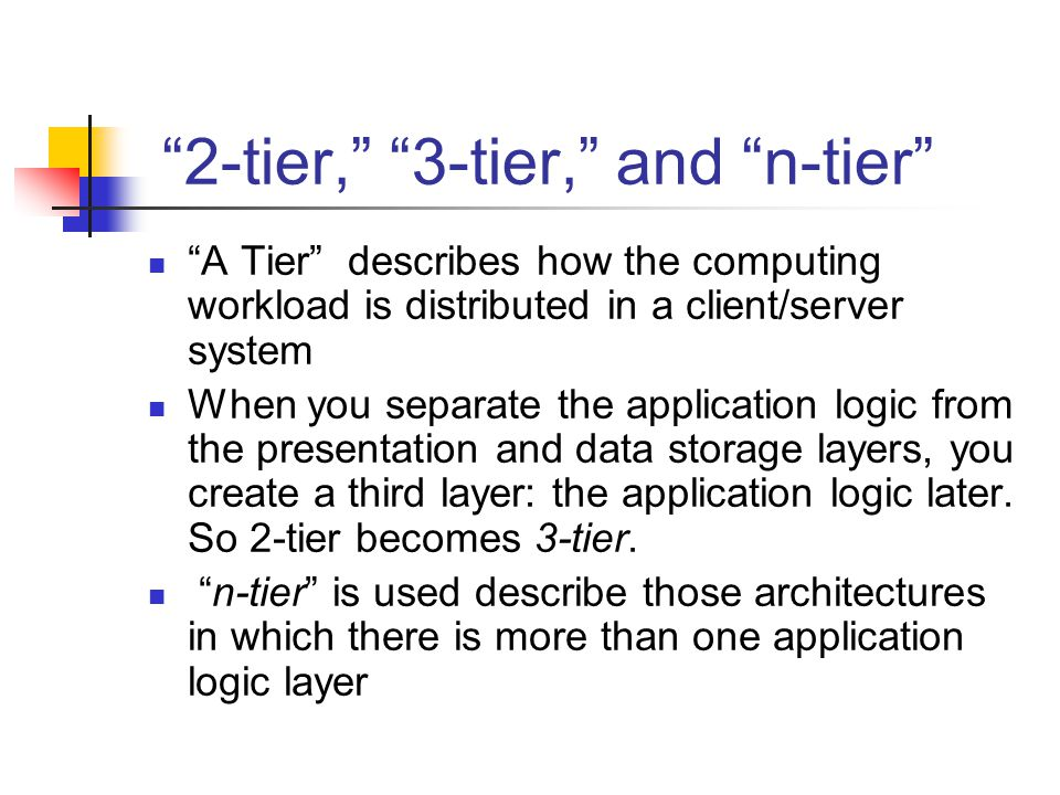 2-tier, 3-tier, and n-tier