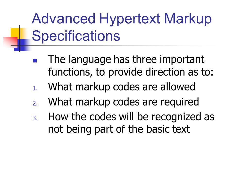 Advanced Hypertext Markup Specifications