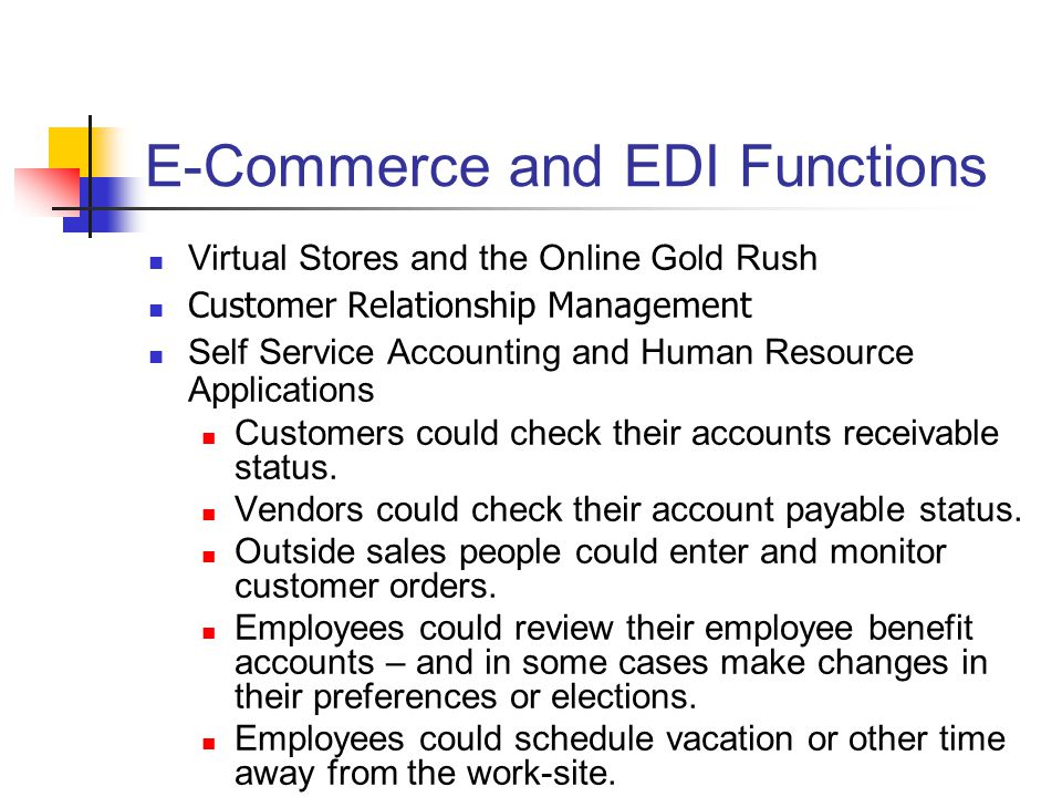 E-Commerce and EDI Functions
