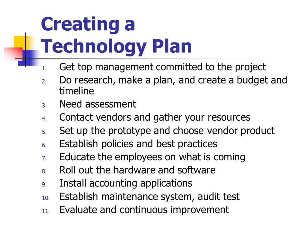 Creating a Technology Plan