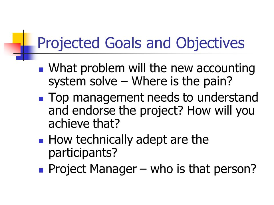 Projected Goals and Objectives