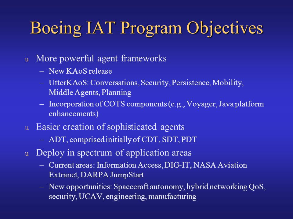 Boeing IAT Program Objectives