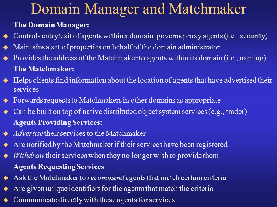 Domain Manager and Matchmaker