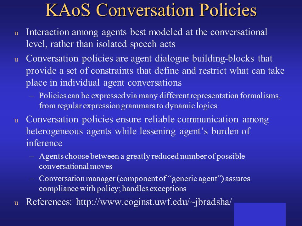 KAoS Conversation Policies
