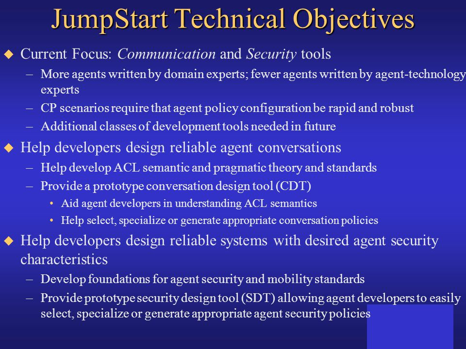 JumpStart Technical Objectives