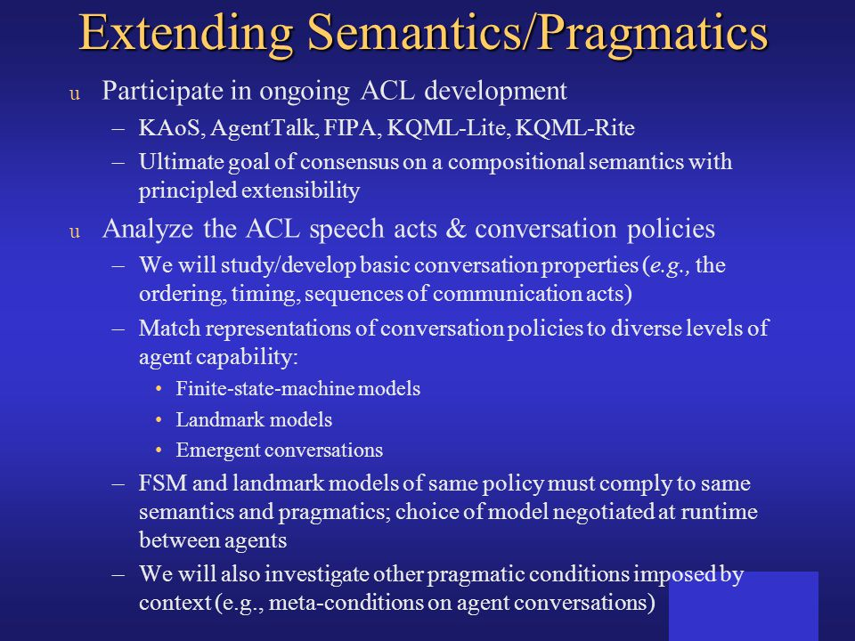 Extending Semantics/Pragmatics
