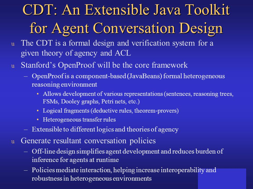 CDT: An Extensible Java Toolkit for Agent Conversation Design