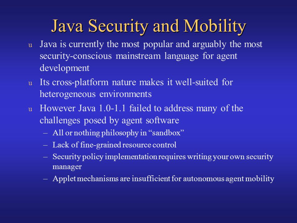Java Security and Mobility