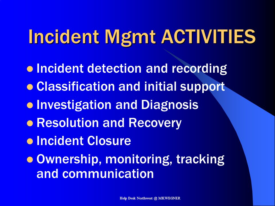 Incident Mgmt ACTIVITIES